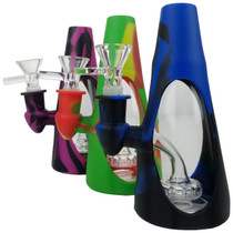 """5.5"""" Silicone Window Cone Banger Hanger Water Pipe - with 14M Bowl & 4mm Banger (MSRP $30.00)"""