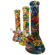 """12"""" Silicone Water Transfer Print Beaker Water Pipe - with 14M Bowl & 4mm Banger (MSRP $50.00)"""