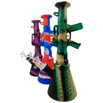 """11"""" Silicone Mix Color Bazooka Beaker Water Pipe - with 14M Bowl & 4mm Banger (MSRP $40.00)"""