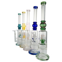 """16"""" Shower Head & Honey Comb Perc Straight Pipe Water Pipe - with 18M Bowl & 4mm Banger (MSRP $65.00)"""