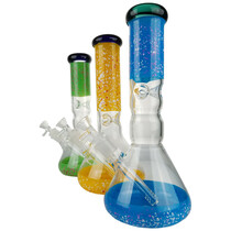 """12"""" 5mm Confetti Ice Catch Beaker Water Pipe - with 14M Bowl & 4mm Banger (MSRP $50.00)"""