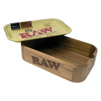 RAW - Wooden Cache Box With Metal Rolling Tray Lid (MSRP $75.00)