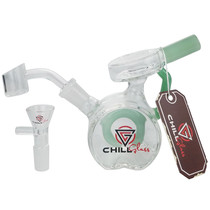 "Chill Glass - 5"" Double Puck Mini Rig Water Pipe - 14M Bowl & 4mm Banger (MSRP $40.00)"