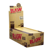 RAW® - Classic Cut Corners Rolling Papers Single Wide (Single Feed)  50ct - Display of 50 (MSRP $2.50ea)