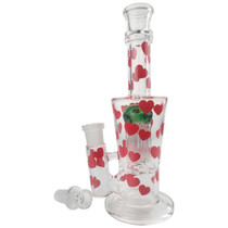 "9"" Heart Decal Tree Perc Water Pipe - with 18M Bowl (MSRP $65.00)"