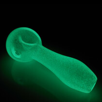 "4"" Glow In The Dark Frit Wide Body Spoon Hand Pipe (MSRP $35.00)"