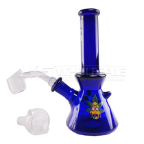 "6"" Decal Work Color Tube Beaker Water Pipe - with 14M Bowl & 4mm Banger (MSRP $50.00)"