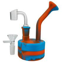 "5"" Silicone Multi Color Puck Mini Rig Water Pipe - with 14M Bowl & 4mm Banger (MSRP $20.00)"