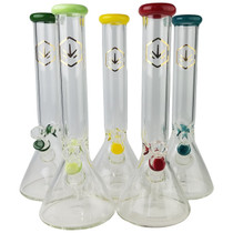 """15"""" 7mm Colored Rim Beaker Water Pipe - with 14M Bowl & 4mm Banger (MSRP $120.00)"""