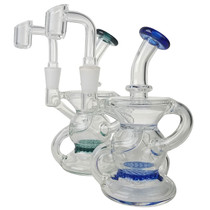 "4.5"" Color Rim Dual Recycler Water Pipe - with 10M Banger (MSRP $95.00)"