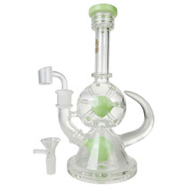 "On Point Glass - 9.5"" Holey Globe Banger Hanger Water Pipe - with 14M Bowl & 4mm Banger (MSRP $125.00)"