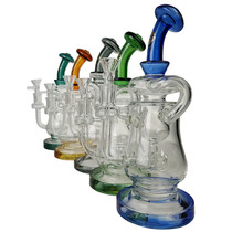 "On Point Glass - 10"" Color Neck Squash Recycler Water Pipe - with 14M Bowl & 4mm Banger (MSRP $125.00)"