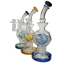 "On Point Glass - 9"" Fabb Matrix Rig Water Pipe - with 14M Bowl & 4mm Banger (MSRP $95.00)"