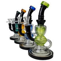 "8"" Dual Color Tight Recycler Water Pipe - with 14M Bowl & 4mm Banger (MSRP $100.00)"