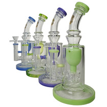 "On Point Glass - 9"" USA Color Rim Showerhead Incycler Water Pipe - with 14M Bowl & 4mm Banger (MSRP $85.00)"