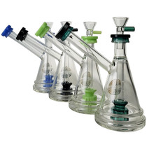 "On Point Glass - 7"" USA Color Rim Bubbler Water Pipe - with 14M Bowl & 4mm Banger (MSRP $65.00)"