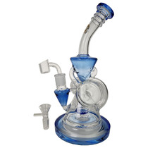 """On Point Glass - 11"""" Dual Barrel Intake Color Rim Recycler Water Pipe - with 14M Bowl & 4mm Banger (MSRP $145.00)"""