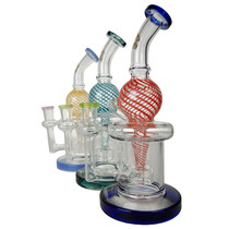 """On Point Glass - 9"""" Color Swirl Incycler Water Pipe - with 14M Bowl & 4mm Banger (MSRP $100.00)"""
