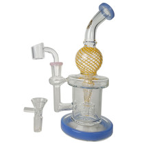 "On Point Glass - 9"" Color Swirl Incycler Water Pipe - with 14M Bowl & 4mm Banger (MSRP $100.00)"