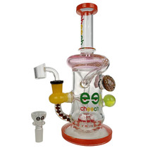 """Cheech Glass - 10"""" Color Rim Water Trap Marble Recycler Water Pipe - with 14M Bowl & 4mm Banger (MSRP $190.00)"""