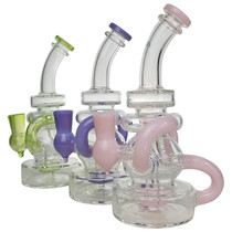 """7.5"""" Dual Intake Color Recycler Water Pipe - with 14M Bowl & 4mm Banger (MSRP $75.00)"""