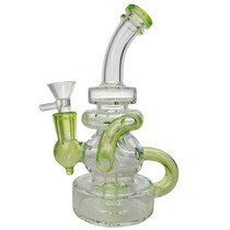 "7.5"" Dual Intake Color Recycler Water Pipe - with 14M Bowl & 4mm Banger (MSRP $75.00)"