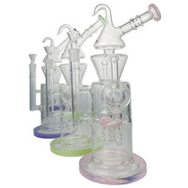 "13"" Colored Rim Multi Perc Water Pipe - with 14M Bowl & 4mm Banger (MSRP $185.00)"