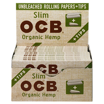 OCB - Hemp Rolling Papers King Size Slim + Tips (32ct) - Display of 24 (MSRP $2.25ea)