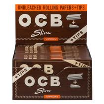 OCB - Virgin Rolling Papers King Size Slim + Tips (32ct) - Display of 24 (MSRP $2.25ea)