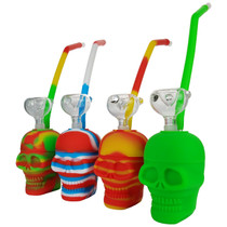 "4"" Silicone Skull Bubbler Water Pipe - with 14M Bowl & 4mm Banger (MSRP $45.00)"