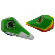 """4.5"""" Silicone Mixed Color Gem Cut Spoon Hand Pipe - Single Assorted (MSRP $30.00)"""
