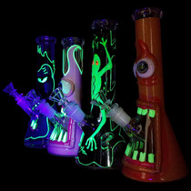 "9.5"" Glow In The Dark Outer Work Spooky Beaker Water Pipe - with 14M Bowl (MSRP $65.00)"