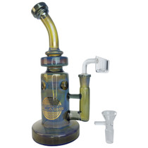 "On Point Glass - 9.5"" Fumed Color Matrix Water Pipe - with 14M Bowl & 4mm Banger (MSRP $145.00)"