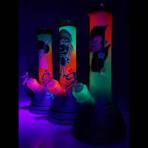 "11"" Glow In The Dark Painted Design Rainbow Sand Blasted Beaker Water Pipe - with 14M Bowl (MSRP 125.00)"