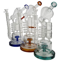 """13"""" Microscope Multi Perc Water Pipe - with 14M Bowl & 4mm Banger (MSRP $130.00)"""