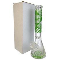 "On Point Glass - 16"" 9mm Thick Base Decal Beaker Water Pipe - with 14M Bowl (MSRP $125.00)"