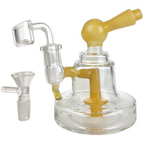 """5"""" Assorted Colored Showerhead Bell Shape Mini Rig Water Pipe - with 14M Bowl & 4mm Banger (MSRP $40.00)"""