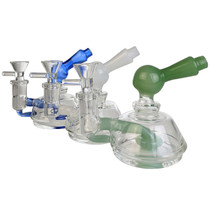 """4"""" Assorted Colored Showerhead Side Car Mini Rig Water Pipe - with 14M Bowl & 4mm Banger (MSRP $40.00)"""