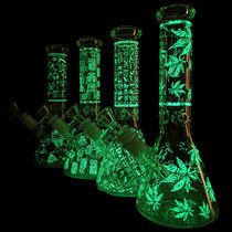 "8"" Decal Glow In The Dark Beaker Water Pipe - with 14M Bowl (MSRP $50.00)"