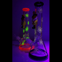 """13.5"""" Glow In The Dark Yellow Guy Outerwork Beaker Water Pipe - with 14M Bowl (MSRP $90.00)"""