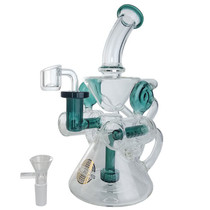 "On Point Glass - 9.5"" Double Barrel Inline Perc Recycler Water Pipe - with 14M Bowl & 4mm Banger (MSRP $150.00)"