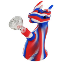 """5.5"""" Silicone Mix Color Dragon Bubbler Water Pipe - with 14M Bowl & 4mm Banger (MSRP $30.00)"""