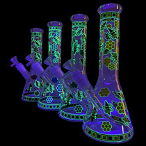 "10"" Glow In The Dark Honeybee Decal Beaker Water Pipe - with 14M Bowl (MSRP $55.00)"