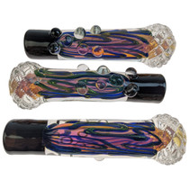 """3.5"""" Fumed Color Cross Cut Chillum Hand Pipe - 3 Pack (MSRP $25.00ea)"""
