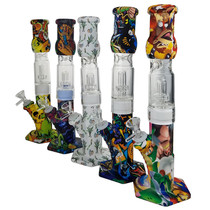 """13"""" Silicone Water Transfer Print Glass Matrix Perc Straight Pipe Water Pipe - Assorted Colors - with 14M Bowl & 4mm Banger (MSRP $55.00)"""