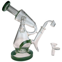 """Clover Glass - 8.5"""" Colored Lip & Base Dual Intake Angled Recycler Water Pipe - with 14M Bowl & 4mm Banger (MSRP $150.00)"""
