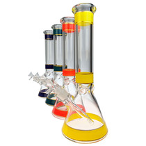 "14"" Color & Gold Stripe Beaker Water Pipe - with 14M Bowl (MSRP $95.00)"