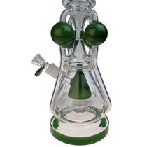 "Clover Glass - 18"" 4 Ball Colored Cone Multiperc Quad Intake Recycler Water Pipe - with 18M Bowl (MSRP $200.00)"