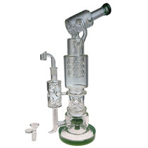 "Clover Glass - 17"" Swiss Multiperc Water Pipe - with 14M Bowl & 4mm Banger (MSRP $220.00)"