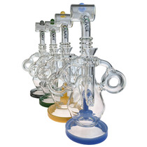"Clover Glass - 12"" Dual Intake Opposing Donut Recycler Water Pipe - with 14M Bowl & 4mm Banger (MSRP $180.00)"